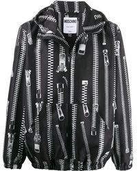 Moschino ジップ フーデッド ジャケット - ブラック