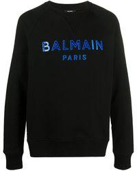 Balmain Sweatshirt mit Logo-Applikation - Schwarz