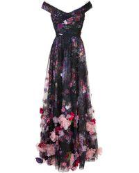 Marchesa notte - Abendkleid mit Blumenapplikationen - Lyst