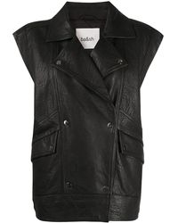 Ba&sh Panelled Leather Waistcoat - Black