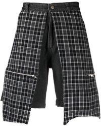 Youths in Balaclava Check-panel Denim Shorts - Black