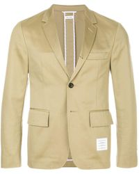Thom Browne 4-bar Unconstructed Single-breasted Jacket - Natural