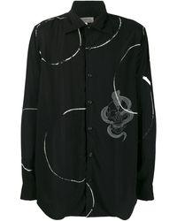 Yohji Yamamoto スカル プリント シャツ - ブラック