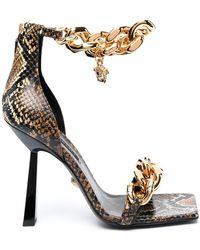 Versace Босоножки С Декором Medusa И Цепочками - Коричневый