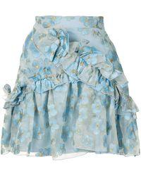 Macgraw Souffle Ruffle Trim Mini Skirt - Blue