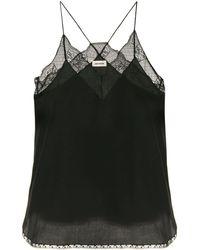 Zadig & Voltaire Ladies Encre Dark Green Christy Lace-trim Velvet Camisole - Black