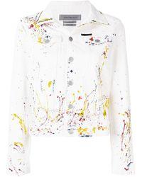 Ck Jeans Paint Splash Denim Jacket - White