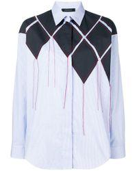 Cedric Charlier - Patchwork Striped Shirt - Lyst