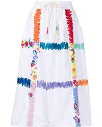 Mira Mikati Scribble Check-print Skirt - White