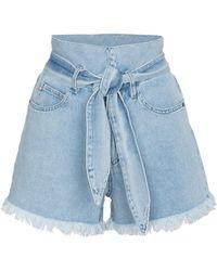 Nanushka - Frayed Denim Shorts With Belt - Lyst