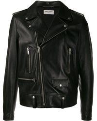 Saint Laurent Veste de moto en cuir - Noir