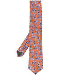 Canali Corbata con estampado de cashmere - Naranja