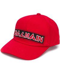 Balmain Casquette à logo brodé - Rouge