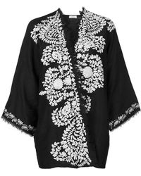 P.A.R.O.S.H. - Contrast Embroidered Kimono Jacket - Lyst