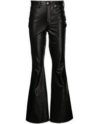 Veronica Beard Beverly アニマルフリーレザー フレアパンツ - ブラック