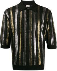 Saint Laurent Рубашка-поло В Полоску С Эффектом Металлик - Черный
