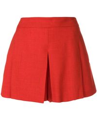 Mulberry Pleat Detail Shorts - Red