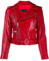 Manokhi Chaqueta biker con cinturón - Rojo