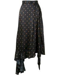 Preen By Thornton Bregazzi Asymmetric Monogram Skirt - Black