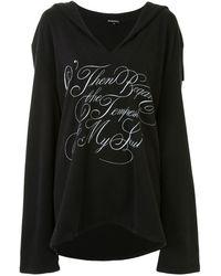 Ann Demeulemeester Oversized V-neck Hoodie - Black