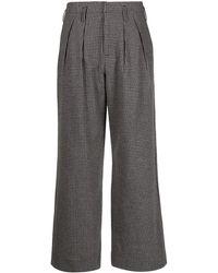 Folk Mini-check Wide-leg Pants - Grey