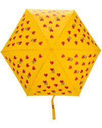 Moschino Regenschirm mit Herz-Print - Gelb