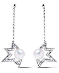 Tasaki - 18kt White Gold Comet Plus Diamond And Pearl Earrings - Lyst