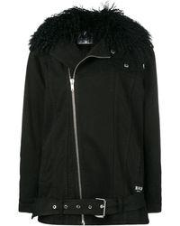 MSGM Джинсовая Куртка С Воротником Из Овчины - Черный