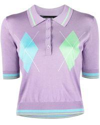 Versace Gestricktes Poloshirt - Lila
