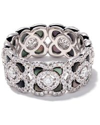 De Beers 18kt White Gold Enchanted Lotus Mother-of-pearl And Diamond Ring - Metallic