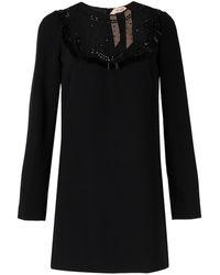 N°21 フリンジ ミニドレス - ブラック