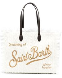 Mc2 Saint Barth Сумка-тоут Фактурной Вязки С Бахромой - Белый