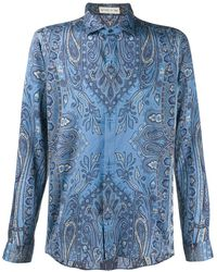 Etro Paisley Print Long-sleeve Shirt - Blue