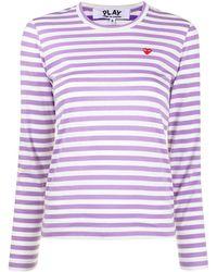 COMME DES GARÇONS PLAY ストライプ ロングtシャツ - パープル