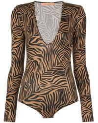 ANDAMANE Structured-shoulder Tiger-print Bodysuit - Brown