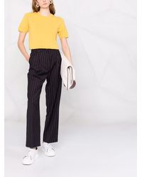 N.Peal Cashmere Round-neck Cashmere T-shirt - Yellow