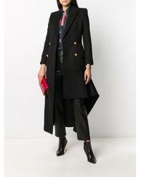 Alexander McQueen Длинное Пальто Асимметричного Кроя - Черный