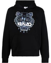 KENZO Tiger Motif Embroidered Hoodie - Black