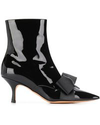 Rochas Bow Detail Ankle Boots - Black