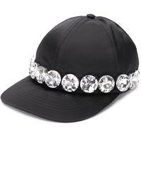 N°21 Атласная Бейсболка С Отделкой Кристаллами - Черный