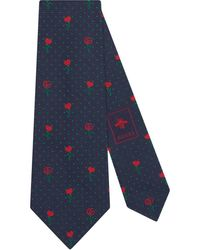Gucci - Double G Silk Tie With Hearts And Flowers - Lyst