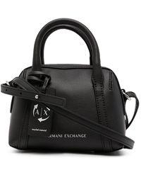 Armani Exchange レザー ボストンバッグ - ブラック
