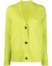 Closed Button-up Knit Cardigan - Green