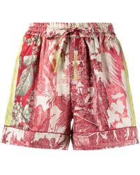 Pierre Louis Mascia Floral-print Silk Shorts - Red