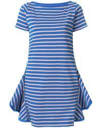 0f5d517f4712e Lyst - Sacai Striped Shirt Dress in Blue