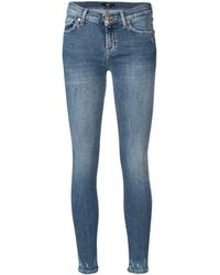 7 For All Mankind Geripte Skinny Jeans - Blauw