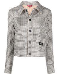 STAUD Evergreen Plaid Cropped Jacket - Multicolour