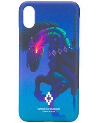 Marcelo Burlon IPhone X-Hülle mit Pferde-Print - Blau