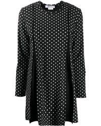 Comme des Garçons Pleated Polka Dot Mini Dress - Black