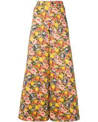 Marni Pantalones de sarga con motivo floral - Amarillo